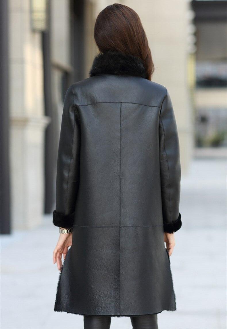 Sheep Shearing Fur overcoat sheep furwomen coat fur collar trim leather with fur women Winter ladies jacket Fur Story FS20103 Women Women's Clothings Women's Sweaters/Coat cb5feb1b7314637725a2e7: black