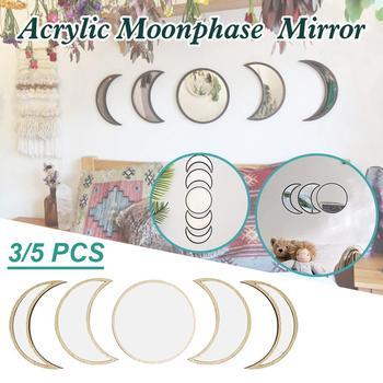 3 sztuk 5 sztuk księżyc lustra do dekoracji ścian lustra salon styl skandynawski drewniane dekoracyjne lustro faza księżyca ściany lustro do sypialni tanie i dobre opinie CN (pochodzenie) mirror