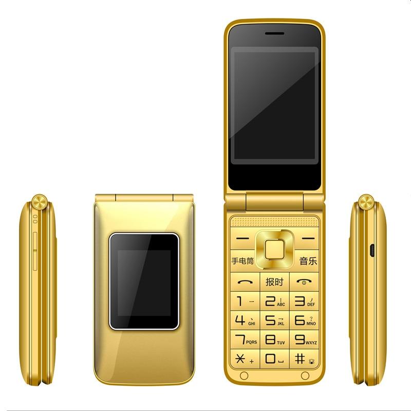 Unlocked Flip Dual Screen Dual Sim Card Mobile Phone Big Voice Music Palyer Flashlight 2800 MAh Camera Recording GSM Network