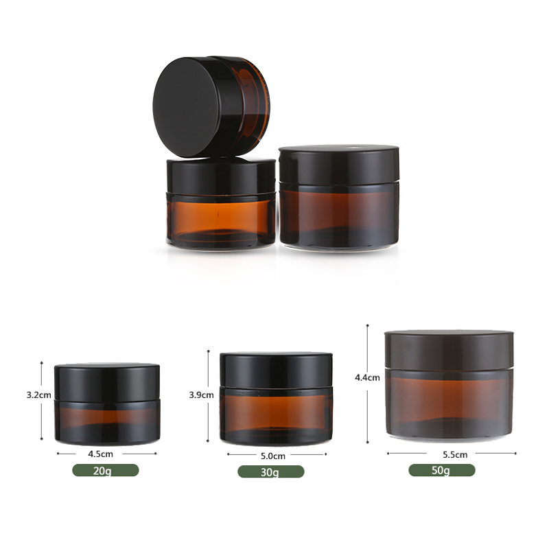 Image 3 - 20 шт 5 г 50 г янтарные стеклянные банки контейнеры косметический крем лосьон порошок КОРИЧНЕВЫЕ БУТЫЛКИ горшки для макияжа дорожные чехлы с черными крышкамиМногоразовые бутылки   -