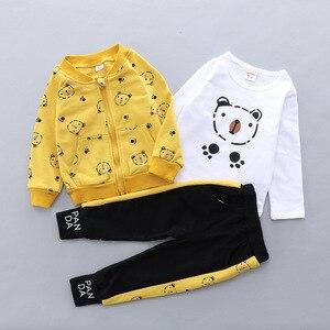 Image 5 - Kid Baby Boy Casual Clothing Set Cartoon Bear Zipper Coat Clothes Shirt Clothing Sets 3PCS Toddler Baby Set Boys  1 2 3 4 Years
