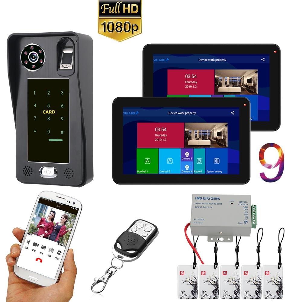 9 Inch  2 Monitors  Wifi Wireless Fingerprint IC Card  Video Door Phone Doorbell Intercom System With Wired AHD 1080P  Door Acce