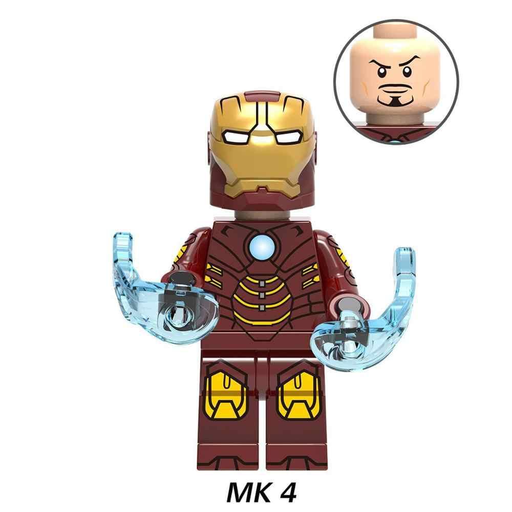 8 шт./партия Супергерои Мстители Мини фигурки Железный человек MK2 MK3 MK4 строительные блоки кирпичи детские игрушки для детей