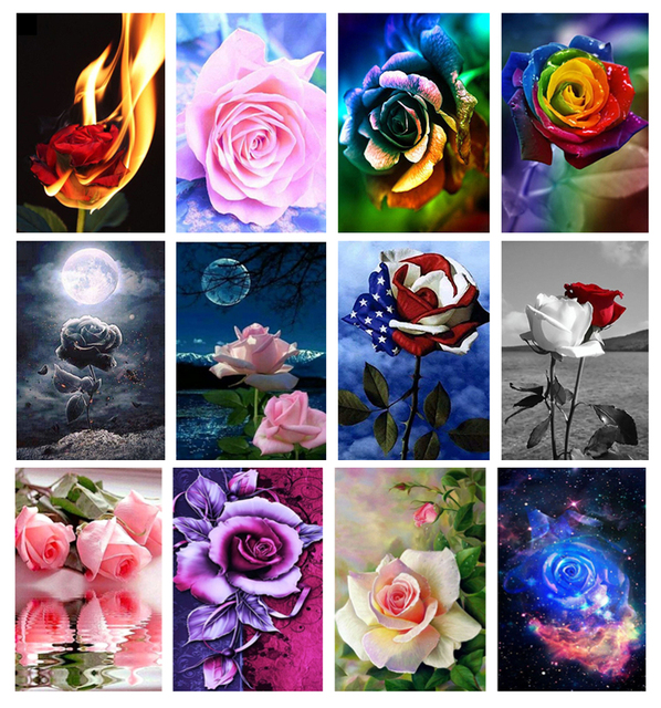 Ssckll DIY 5D diamond painting round diamonds by number kit mosaic Piano rose flower music flowers Cross-stitch resin embroidery kit adult adult home decoration 40x50cm