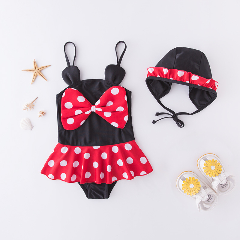 Girl'S One-piece Swimming Suit Red Dotted Large Bow With Hat-Children Hot Springs Bathing Suit