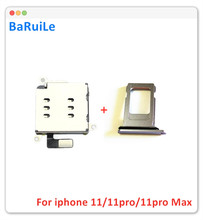 Baruile 5 conjuntos leitor de cartão sim duplo adaptador + titular bandeja sim dupla para iphone 11 11pro max / 11 pro