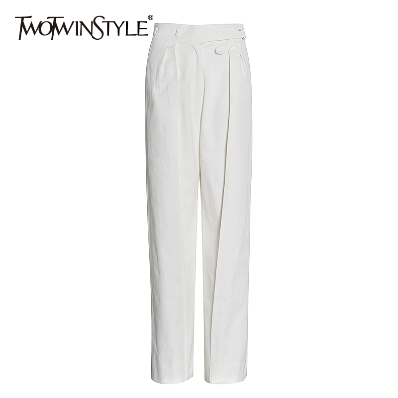 TWOTWINSTYLE White Casual Elegant Trousers High Waist Lace Up Zipper Button Pants Female 2020 Autumn Fashion New Clothing