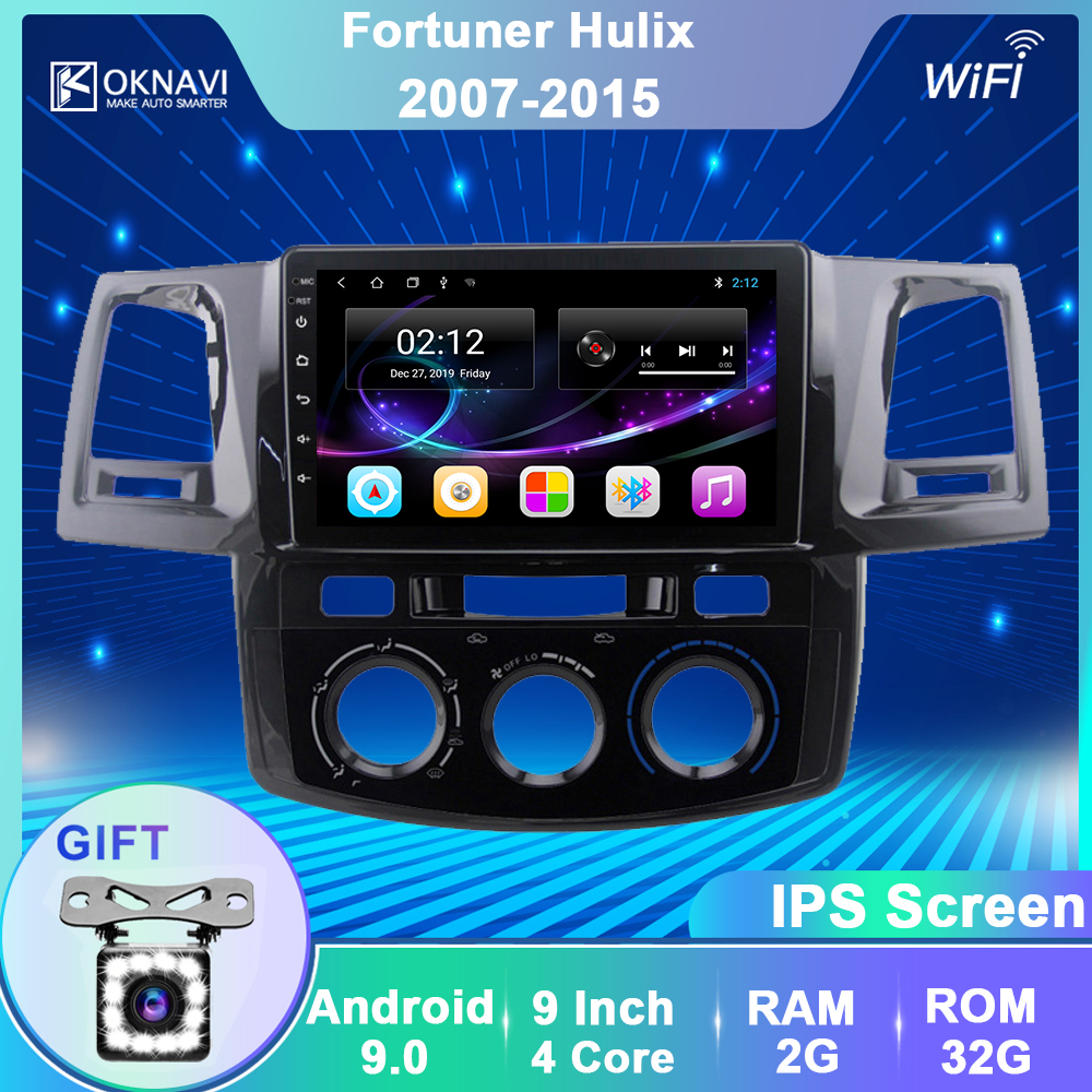 OKNAVI Android 9.0 Car Multimedia Video Radio Player For Toyota Fortuner Hilux  2007 2008 2012 2014 2015 Audio Gps Navigation