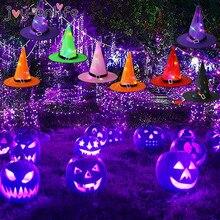 Хэллоуин светодиод светящиеся ведьмы шляпа ведьма косплей вечеринка украшение шляпа игрушки кепка