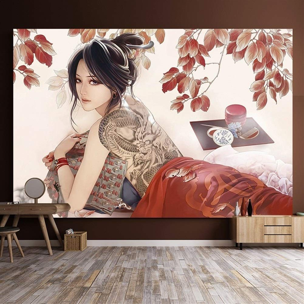 Chinese Style Retro Japanese Decorative Tapestry Tattoo Belle Bar Restaurant Wall Hanging Bedroom