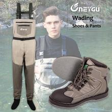 NEYGU waterproof&ventilate chest waders and Felt Sole boots for water sports,adult fishing waders for boarding