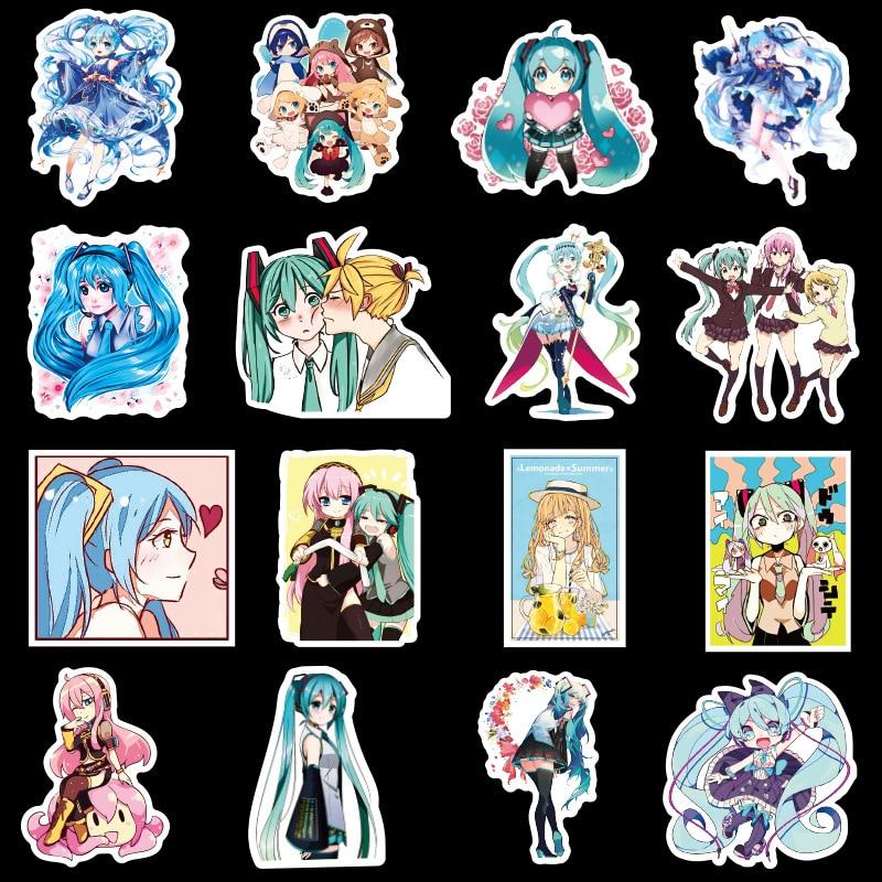 50Pcs/New Hatsune Miku Cartoon Waterproof DIY Decals Sticker for Fridge Suitcase Stationery Developer Decor