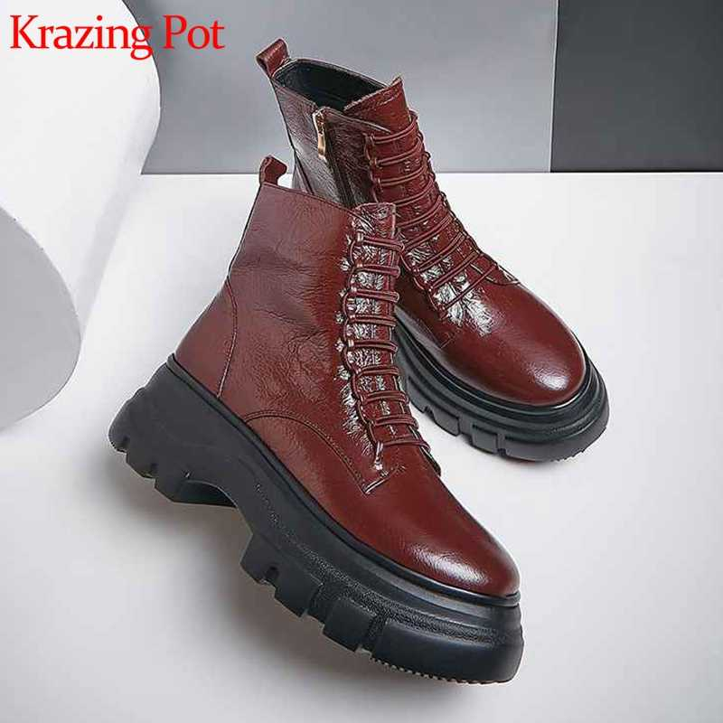 Krazing pot cow leather round toe elastic band decoration high bottom women elegant European design high quality ankle boots L93