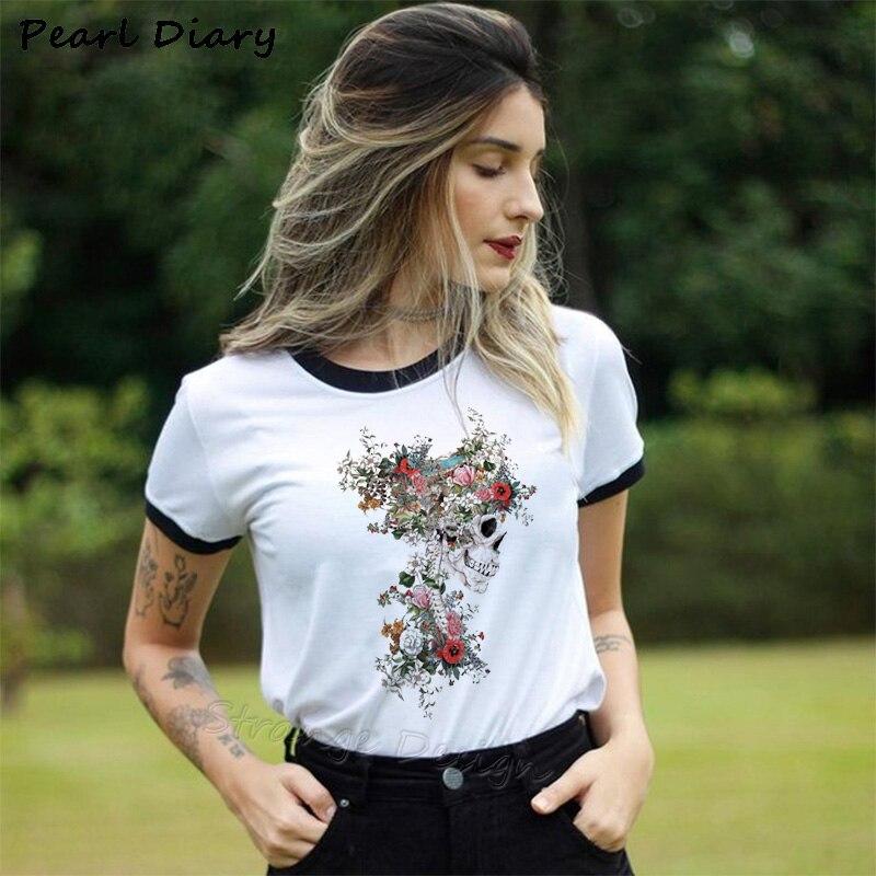 Summer Skull Flowers Aesthetic Art T Shirt Women Tshirt Punk Rock Clothes Knight Printed T-shirt Fitness Womens Clothing 2019