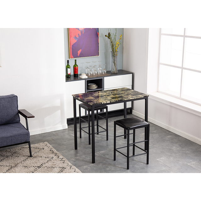 Dining Table Set[90 x 60 x 82] cm Marble Face High Dining Table and Chair Cushion Black 3 Piece Set 1 Table 2 Chairs 2
