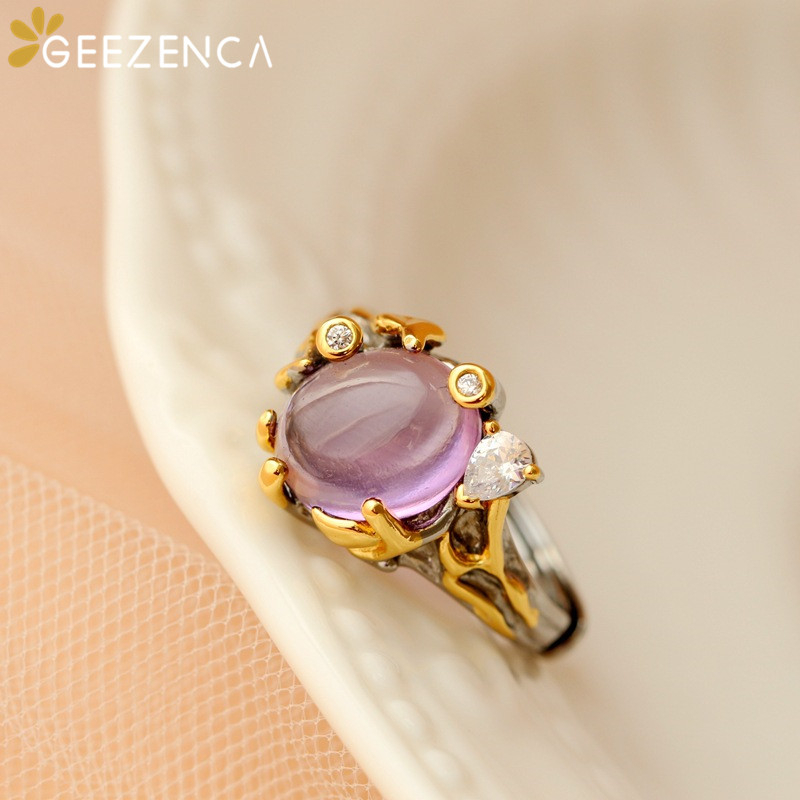 925 Sterling Silver Gold Plated Natural Amethyst Gemstone Rings Fine Jewelry For Women Trendy Romantic Rings Wedding Engagement