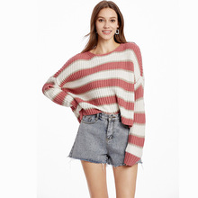 Fashion Striped Cropped Sweaters Full Sleeve O-Neck Short Casual Korean Style Pullover Autumn Winter Tops For Women Pull Femme