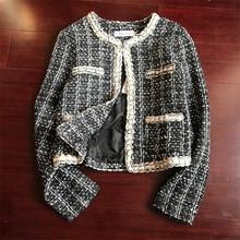 Women Plaid Tweed Basic Jacket Heavy Pearls Beading Chains Formal Blazer
