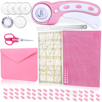 KAOBUY 61PCS Pink 45mm Rotary Cutter Set-Fabric Cutter With Storage Bag, A3 Cutting Mat, Acrylic Ruler For Crafting, Quilting
