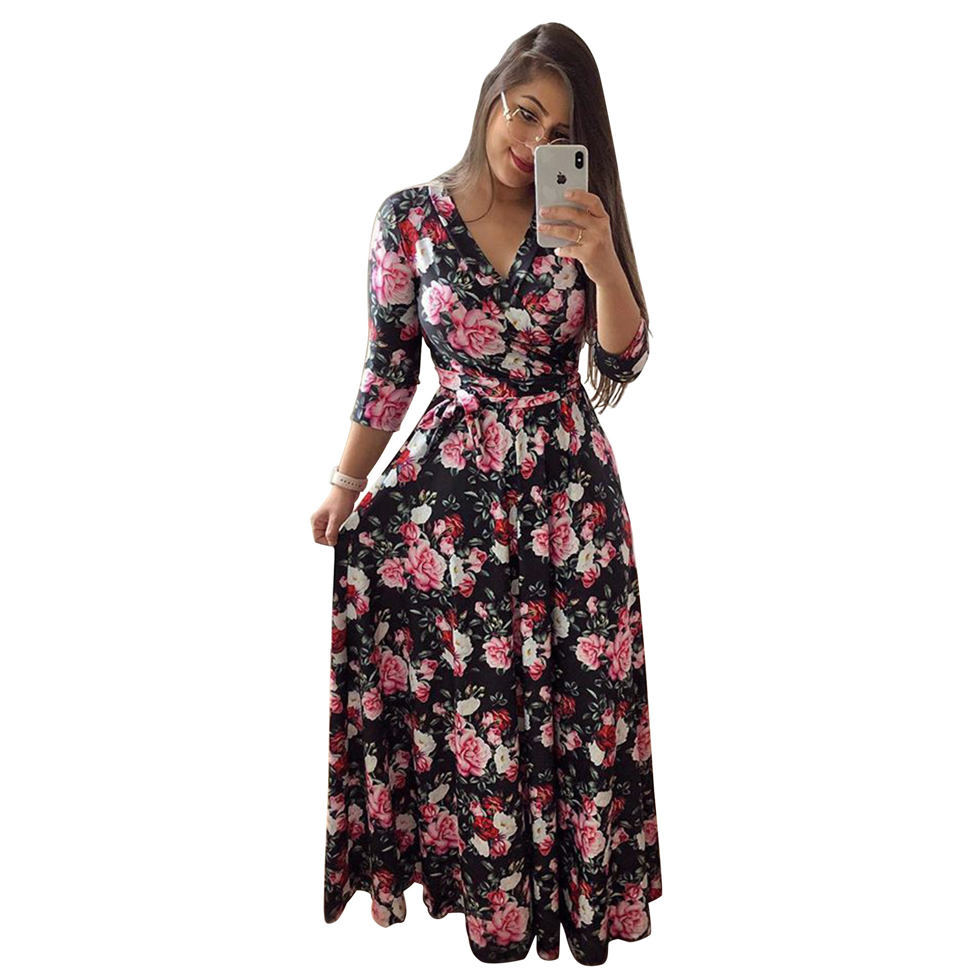Hc0a73db08a394b58a13f1fa7ba6f1f36X - Oufisun Spring Sexy Deep V Neck Women's Dress Bohemia Tunic Maxi Dresses Elegant Vintage Flowers Print Dress Vestidos Plus Size