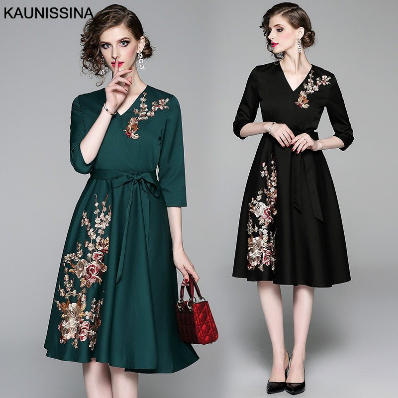 KAUNISSINA Women Cocktail Dress Elegant Embroidery Formal Party Gown Autumn 3/4 Sleeve V-neck Knee Length Homecoming Dress Robe