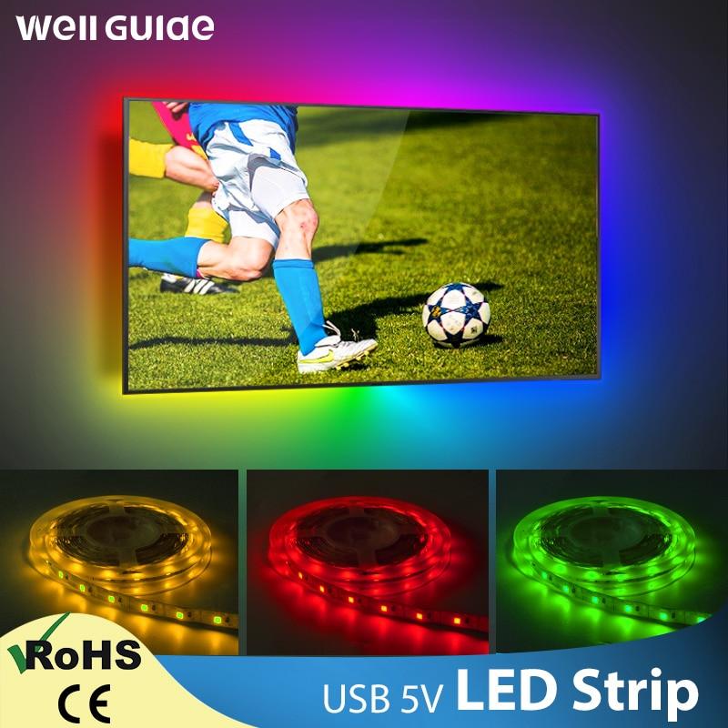 LED Strip USB DC 5V 50CM 1M 2M 3M 4M 5M Mini 3Key 24Key Flexible Light Lamp SMD 2835 Desk Decor Screen TV Background Lighting