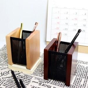 Suporte da pena de madeira quadrado malha de ferro simples retro multi-funcional criativo estudantes de negócios do escritório papelaria armazenamento de desktop