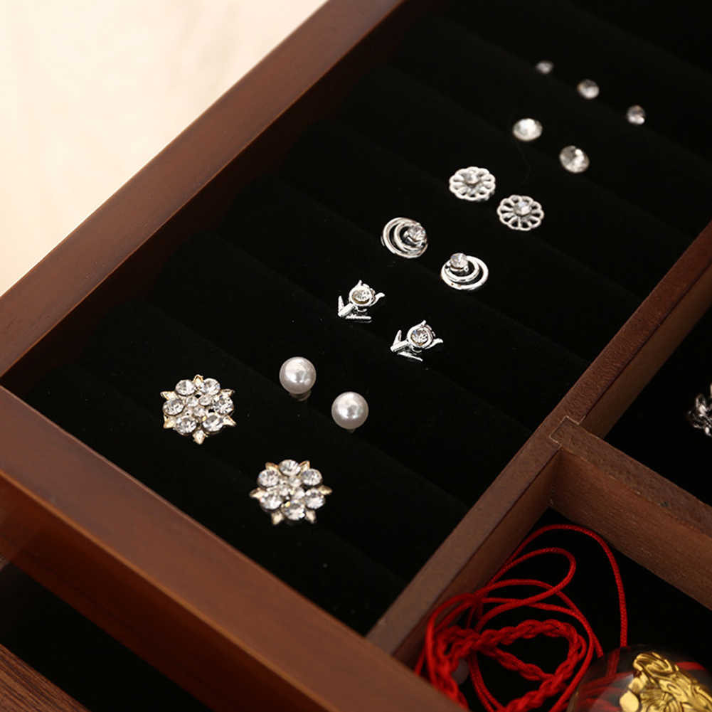 2/4 שכבות רטרו עץ מגירת טבעת עגיל תכשיטי אריזת תיבת איפור מקרה צמיד טבעת ארגונית תכשיטי אחסון חדש
