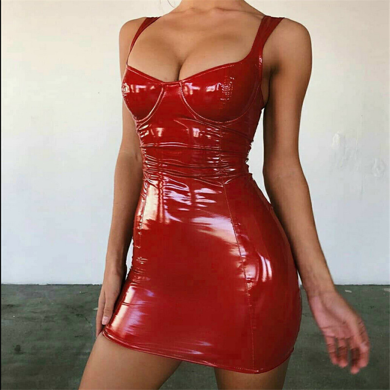 Hot Sexy Wet Look PU Leather Backless Club Party Push Up Bra Short Dress Sexy Women Party Pencil Short Mini Dresses Streetwear image