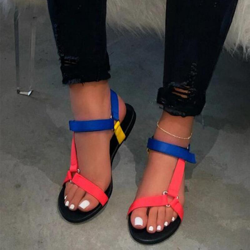 NouC INS HOTSELL 2020 Women Ankle-Strap Sandals Summer Low Heels Shoes Open Toe Casual Shoes Beach Sandals Plus Size 38-42