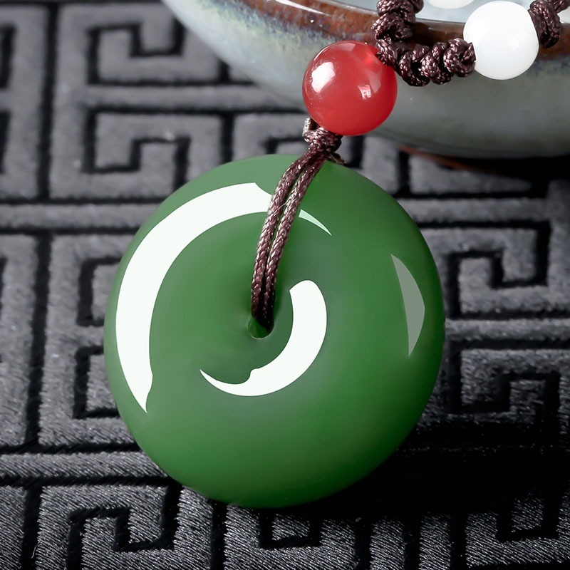 Natural Green Jade Safety Buckle Pendant Chinese Necklace Hand-Carved Fine Charm Jewelry Fashion Amulet for Men Women Gift White