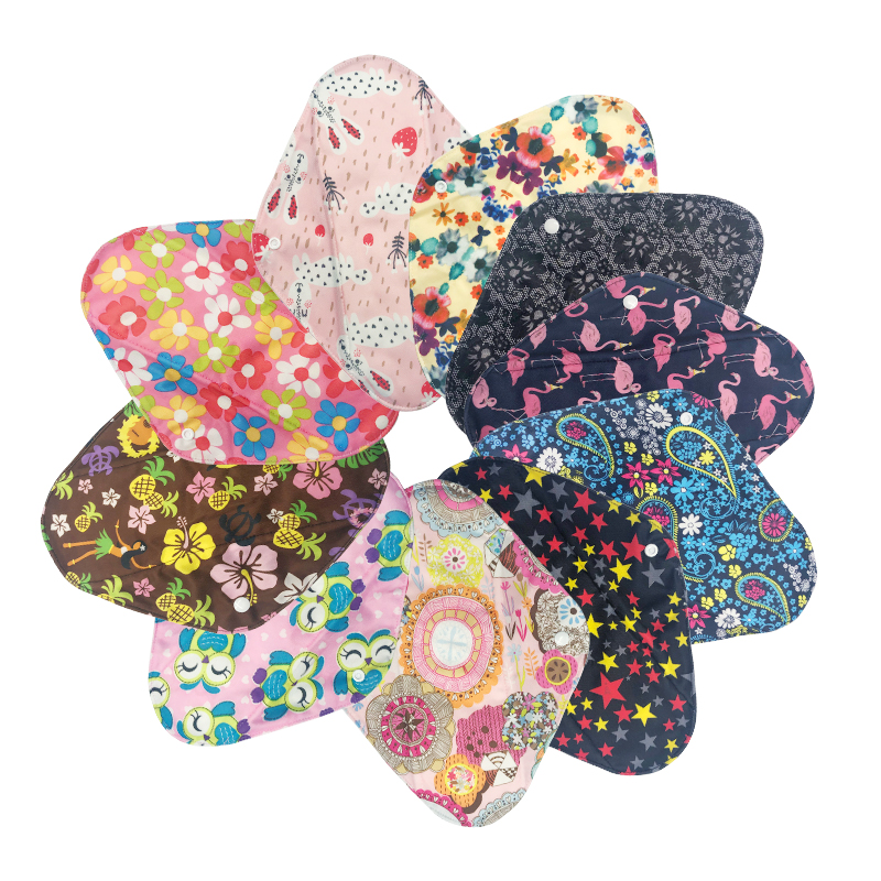 [Mumsbest] 10PCS Sanitary Towel Cloths Reusable Bamboo Charcoal Print Color Menstrual Pads Panty Liners Sanitary Pads By Random