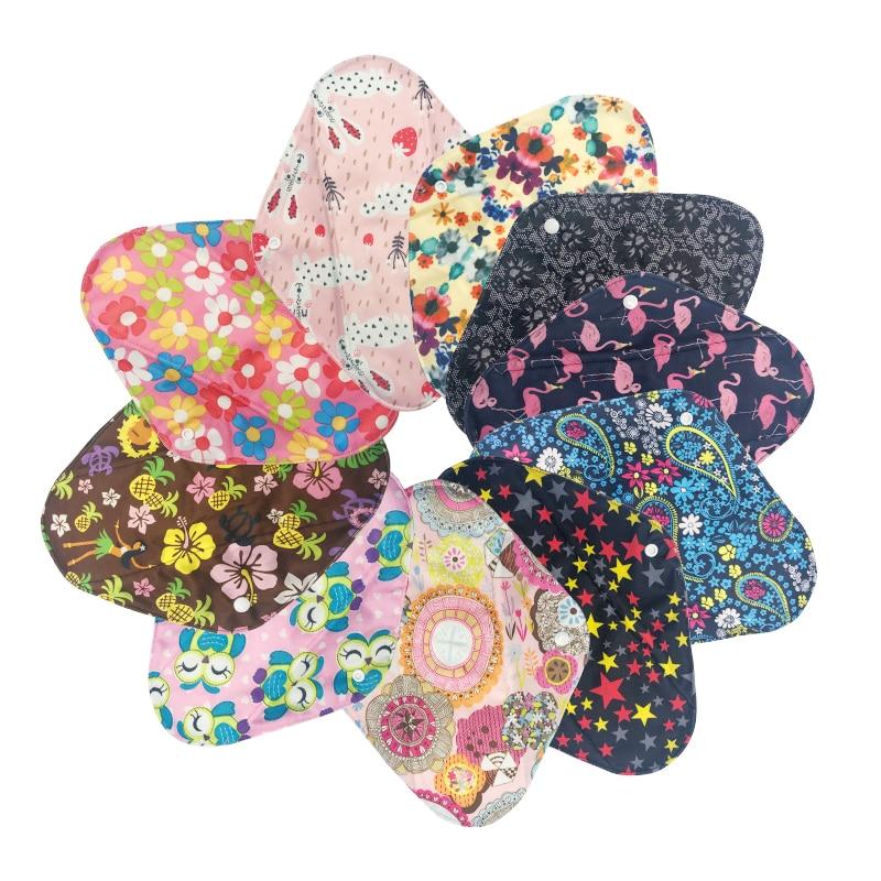 [Mumsbest] 10PCS Sanitary Towel Cloths Reusable Bamboo Charcoal Print Color Menstrual Pads Panty Liners Sanitary Pads By Random