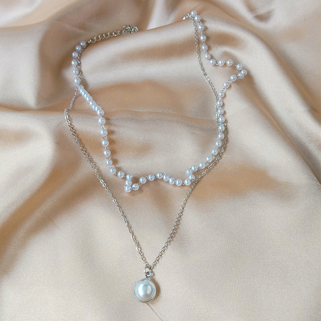 double layer chain and pearl necklace 5
