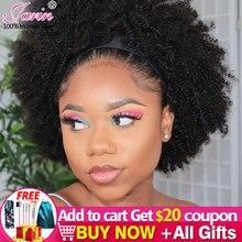 Headbang-Peluca de cabello humano Remy para mujeres, Pelo Rizado Afro mongol, Color Natural, 180%, 200%, 250% de densidad
