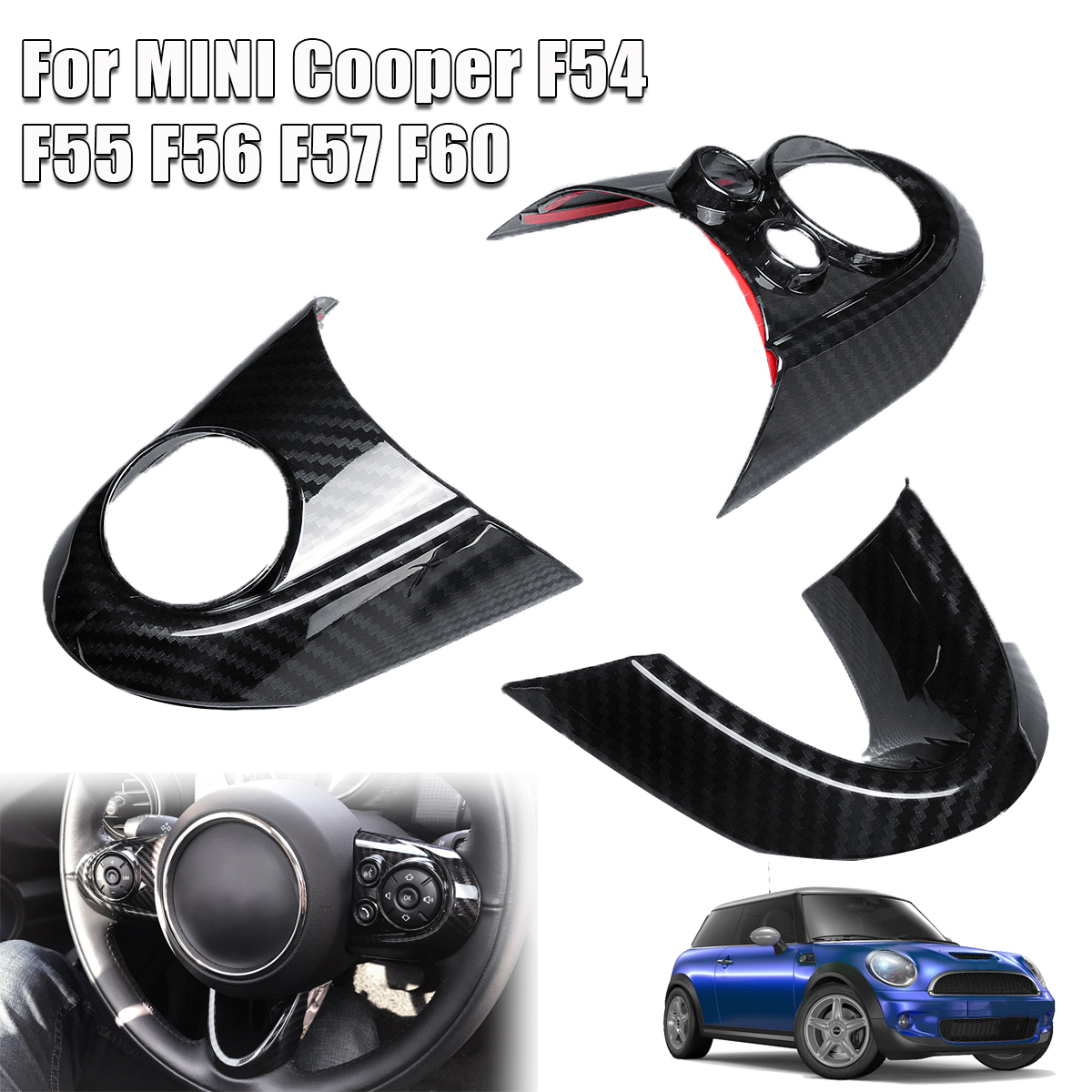 3pcs Car Steering Wheel Covers For MINI Cooper F54 F55 F56 F57 F60 Carbon Fiber Style Auto Interior Accessories Sticker Cover