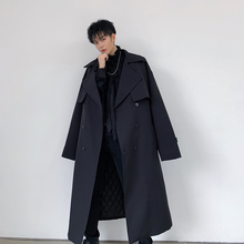 Men Vintage Double Breasted Thick Cotton Padded Trench Coat Male Streetwear Hip