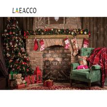 Laeacco Brick Old Fireplace Christmas Tree Gift Teddy Bear Baby Photo Background Photography Backdrop Photocall Photo Studio bearbrick bear brick 400