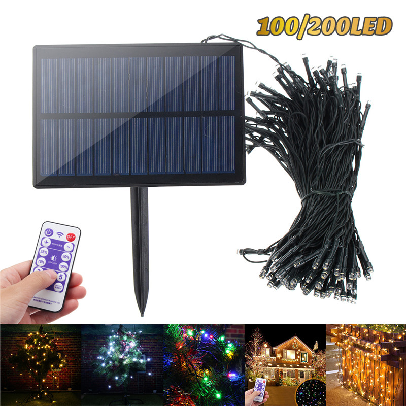 100/200 LED Solar Light String Upgraded Solar Panel With Remote 8 Modes Garden Christmas Tree Fairy Tale Festival Lighting Decor