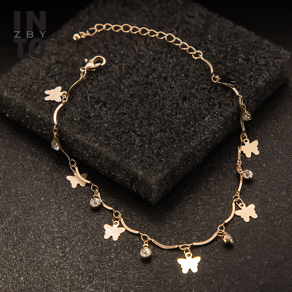 Into Crystal Butterfly Ankle Bracelet For Women Gold Color Chain Summer Beach Charm Anklet Bracelet On Leg Foot Jewelry Gift