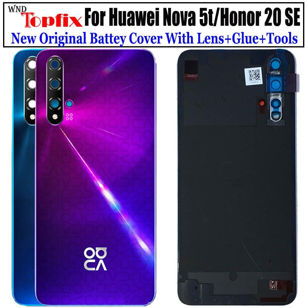 New For Huawei Nova 5t Back Cover Nova5t Battery Cover Door Rear Glass For Honor 20 se Battery Cover Housing Case with Lens