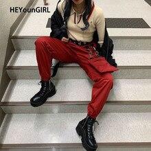 HEYounGIRL 分割カジュアルパンツ弾性ハイウエストのズボン女性の手紙プリントハイストリートスウェット