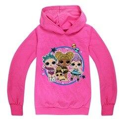 Lol boneca bebê meninas camisolas primavera outono crianças hoodies manga longa camisa lol surpresa crianças hoodies roupas