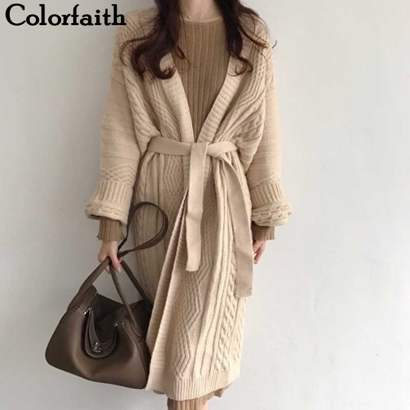 Colorfaith New 2019 Autumn Winter Women Jackets Knitting Warm Korean Style Elegant Casual Long Coat Outerwear Ladies JK1945