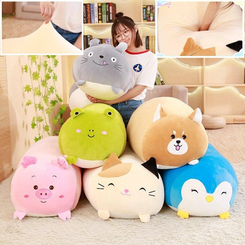 90cm grand Animal doux dessin animé oreiller coussin mignon gros chien chat Totoro pingouin cochon grenouille en peluche jouet enfants cadeau de naissance