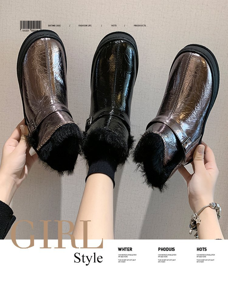 Winter snow boots for women, outdoor fur shoes, women's warm shoes, wool boots, solid rhinestones, casual women's boots 77