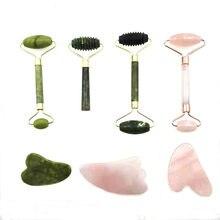 Rouleau de Massage Facial, outils de soins de la peau naturels, planche de Guasha, Double têtes, pierre de Jade, lifting du visage, Relaxation, amincissant, beauté du cou