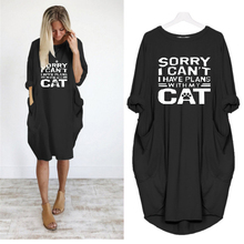 2019 Dress Print Letters With My Cat Pocket Vintage Summer Fall Maxi Clothes Woman Dresses Party Plus Size Women