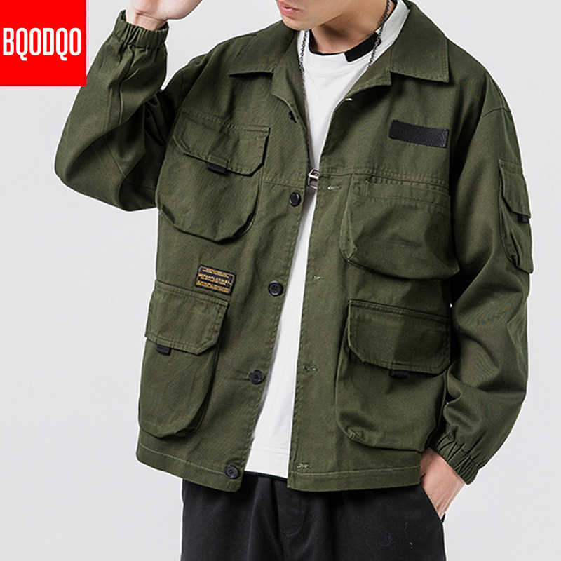 Fitness Military Army Green Jacket Coat For Men Autumn Multi-Pocket Jackets Winter Streetwear Casual Japanese Style Male Coats