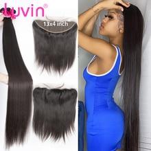 Luvin 28 30 32 34 40 Polegada osso em linha reta tecer cabelo brasileiro 3 4 pacotes com 13x4 rendas frontal remy humano natural